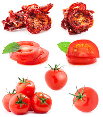 Collections of fresh and dried tomatoes, isolated on white