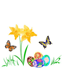 Easter egg with daffodils and butterflies