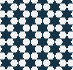 Dark Blue and White Hexagon Patterned Textured Fabric Background