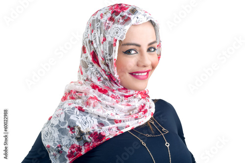Beautiful Arabian model in hijab with a beautiful smile