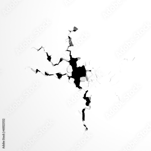 crack in the wall on a white background