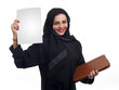 Arabian business woman holding a white paper