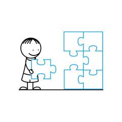 Happy boy with puzzle