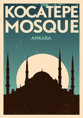 Vintage Kocatepe Mosque Ankara Poster