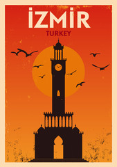 Vintage İzmir Konak City Poster