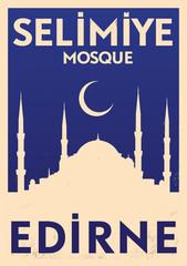 Vintage Edirne Selimiye Mosque Poster