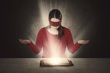 Blindfolded Bible reading