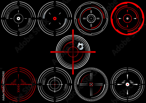Set of nine abstract cross hairs, on black background