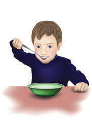 Vector child eating with a spoon in his hand