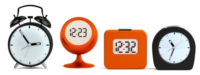 realistic 3d render of alarm clocks