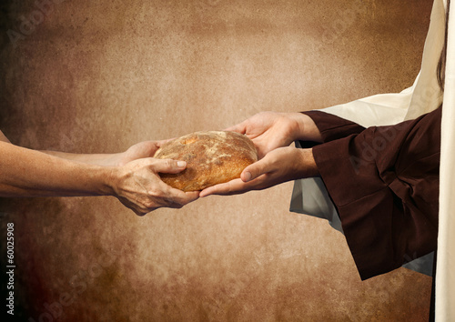 Papiers peints Pain Jesus gives the bread to a beggar.