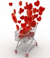 Hearts flying in supermarket trolley. 3d render illustration
