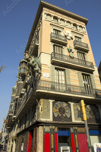 Barcelona. House with umbrellas.