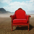 Red armchair in the desert