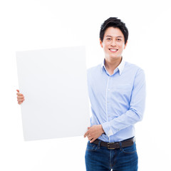 Young Asian man showing a pannel card