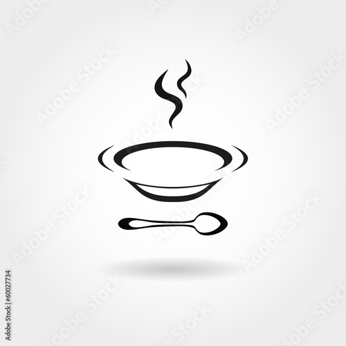 Plate with hot soup. Can be used as icon or symbol..