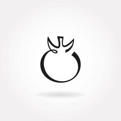 Minimalistic tomato icon or symbol.