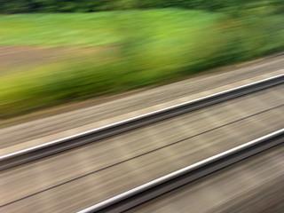 Schienen von Eisenbahn. Zugfahrt