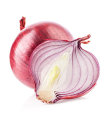 Onions and sliced onions on a white background