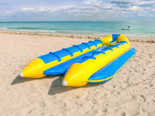 Yellow and blue banana boat