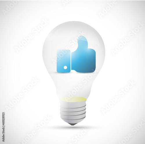 light bulb and like hand illustration design
