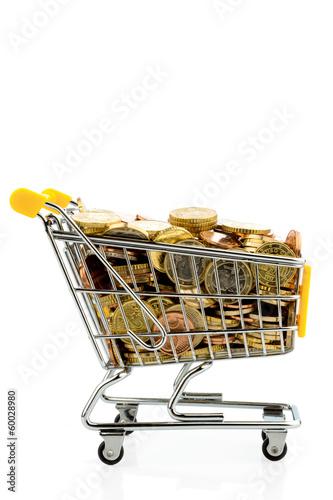 Einkaufswagen mit Euromünzen