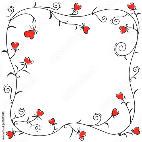 Frame of floral hearts