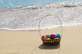 Fototapety Easter basket with eggs on the beach