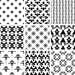 Set of nine swirl seamless patterns.