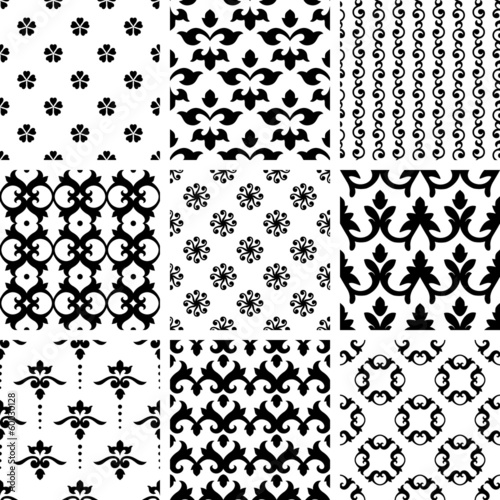 Set of nine swirl seamless patterns.