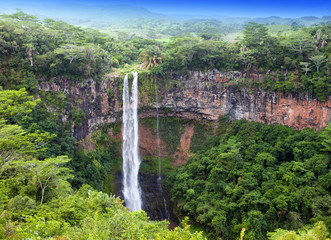 Chamarel waterfalls in Mauritius