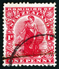 Postage stamp New Zealand 1909 Commerce, Allegory