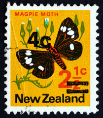 Postage stamp New Zealand 1971 Magpie Moth, Nyctemera, Insect