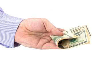 Cash in hand of businessman over white