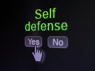 Protection concept: Self Defense on digital computer screen
