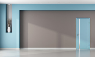 Minimalist empty  brown and blue interior