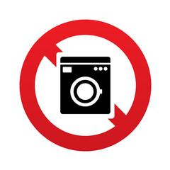No Washing machine icon. Home appliances symbol