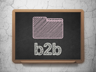 Business concept: Folder and B2b on chalkboard background