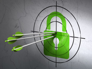Security concept: arrows in Closed Padlock target on wall