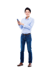 Young Asian man using phone