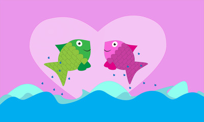 Fish valentine background