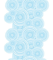 Vector doodle circle water texture vertical border seamless