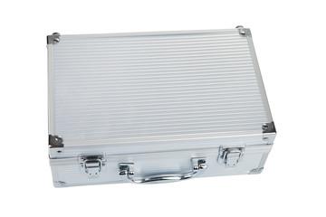 Closed Aluminum Make Up case, isolated on white background
