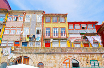 Old houses of Ribeira, Porto, Portugal