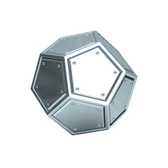 Metallic dodecahedron on white background