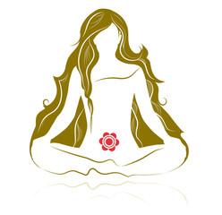 Gold Yoga Silhouette - Meditation