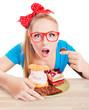 Funny woman eating dessert, sweet temptation