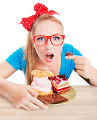 Funny woman eating dessert, sweet temptation