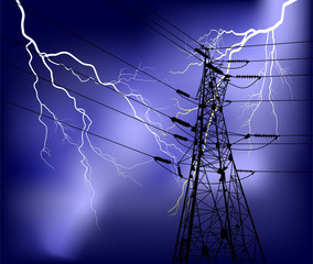 pylon with cables under lightnings