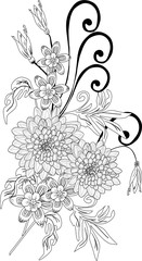 black sketch with chrysanthemum flowers
